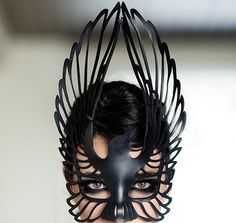 raven leather mask in black, by tom danwell, available via etsy, photo by anya e on anyaephotography.com