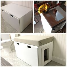 We made a cat litter box from an IKEA drawer by sawing a door in the side and framing it with moulding. We also added a cushion on top so it's a functional piece of furniture and looks much nicer than a typical litter box. Diy Litter Box, Hidden Litter Boxes, Ikea Cat, Dog Door Flaps, Window Seat Storage, Cat Hacks, Pet Furniture, Sphynx, Moulding