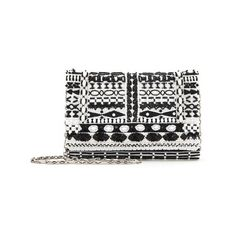 Oscar de la Renta Black & White Embroidered Satin Dede Bag (24.380 ARS) ❤ liked on Polyvore featuring bags, handbags, clutches, red, satin clutches, mini pochette, evening clutches, red clutches and special occasion clutches