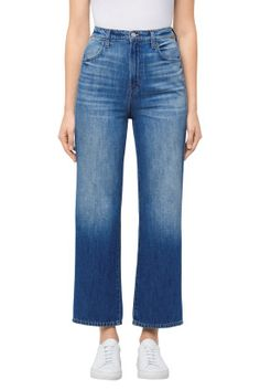J Brand Joan High-Rise Straight Wide Leg Crop In Mimic high waisted washed blue denim style Denim Pants Outfit, Denim Outfit For Women, Wide Leg Jeans, High Jeans, Cropped Jeans, Denim Branding, Fashion Branding, Types Of Jeans, Denim Trends
