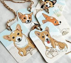 Beach Corgi Gift Tags  Set of 5 by AfricanGrey on Etsy, $6.50