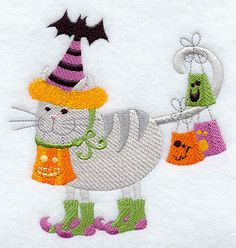 Halloween Hand Embroidery Designs | Trick or Treat Halloween Cat Embroidered Flour Sack Hand/Dish Towel