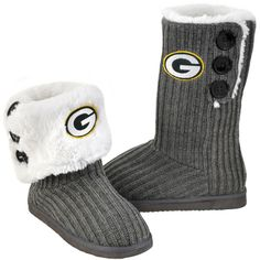 Packers Women's Button Knit Boot Slippers