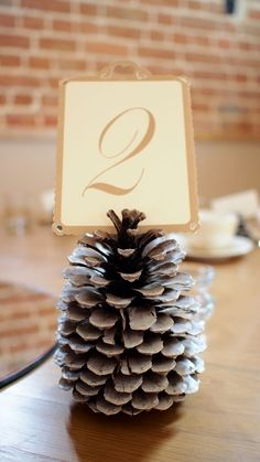 Pine Cone Table Number Holder, Autumnal Wedding