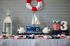 nautical themed birthday party for a 3 year old boy. By Amy Atlas Sailor Party, Sailor Theme, First Birthday Parties, Birthday Party Themes, Boy Birthday, Sailor Birthday, Birthday Ideas, Nautical Party, Navy Party