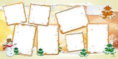 Plantilla Child 29x58 para la Creación de Foto Libros - Imagen Fondo Nieve tonos naranjas, decorada con paisaje nevado, muñeco de nieve y abetos. Dispone de 7 casillas para insertar fotografías con marco naranja. En la parte superior derecha presenta un recuadro blanco en donde escribir un mensaje o rótulo.