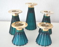 WMF Kerzenhalter Kerzenständer Glas silberfarbig türkis Kerzenleuchter