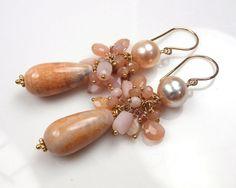 Tangerine Peach Cluster Earrings Pearl Fire by DoolittleJewelry, $115.00