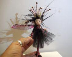 ooak poseable yellow skirt PIXIE fairy 1 polymer by DinkyDarlings