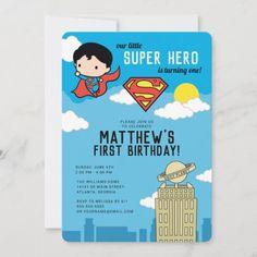 Superman Super Hero First Birthday Invitation: Superman Super Hero First Birthday Invitation $2.86 by superman Superman Baby Shower, Superhero Baby Shower, Superman Birthday, Superhero Birthday Party, Birthday Kids, Baby Shower Supplies, Baby Shower Themes, First Birthday Invitations, Baby Shower Invitations