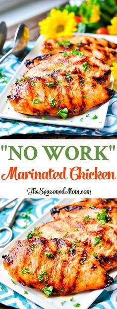 """No Work"" Marinated Chicken! Easy Dinner Recipes | Healthy 5 Ingredient or Less Recipes | Healthy Dinner Recipes | Dinner Ideas | Healthy Recipes | Chicken Breast Recipes | Easy Healthy Dinner | Easy Chicken Recipes | Chicken Marinade | Healthy Chicken Recipes"