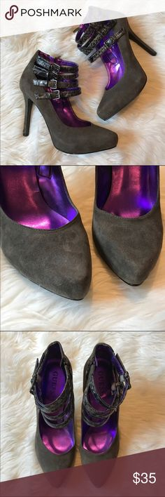 """Gray Suede Heels / NWOT / Guess / 7.5 Gray suede pumps from Guess. NWOT Brand new, never worn, perfect condition! They have adjustable buckle straps that are snakeskin and a zipper on the inside for easy on and off. Size 7.5 with a 4"""" heel. Guess Shoes Heels"""