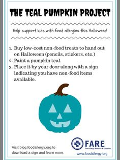 Learn how to make Halloween less scary for kids with severe food allergies by participating in the Teal Pumpkin Project. Tree Nut Allergy, Peanut Allergy, Halloween Candy, Halloween Frames, Halloween Projects, Halloween Stuff, Vintage Halloween, Halloween Ideas, Teal Pumpkin Project