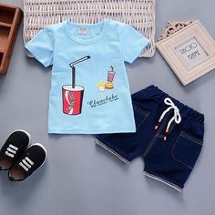 Sweet two piece Cola top with matching denim shorts Status: readily available Color: blue Sizes: Price: Tag someone Baby Boy T Shirt, Baby Boy Swag, Baby Jeans, Baby Shirts, Baby Boys, Boys Summer Outfits, Baby Boy Outfits, Kids Outfits, Disney Baby Clothes