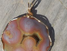 Purple/Orange Ocean Jasper with Druzy- Pendant wrapped in 14k Gold by WrappedStoneWonders on Etsy