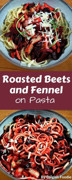 Roasted Beets and Fennel on Pasta is a tasty VEGETARIAN or VEGAN dish that can be made in 30 minutes! Side Dish Recipes, Pasta Recipes, Salad Recipes, Healthy Recipes, Healthy Appetizers, Sweets Recipes, Drink Recipes, Yummy Recipes, Dinner Recipes