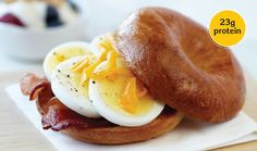 Microwave Egg, Bacon & Cheddar Bagel - Incredible Egg Breakfast Meals, What's For Breakfast, Incredible Eggs, Microwave Eggs, Yogurt And Granola, Bacon Egg, Cheese Recipes, Tasty Dishes