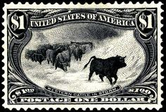 USA 1898 'Western Cattle in Storm' 1$ black