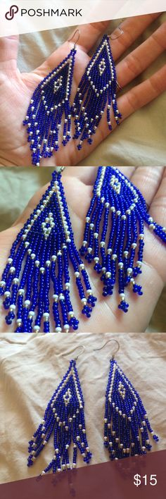 Beautiful indigo blue beaded dangly boho earrings Gorgeous beaded earrings with a cool boho native vibe. Beautiful beadwork in a translucent  indigo color with white and gold accents. Delicate beadwork and Native pattern. Excellent condition. Vintage Jewelry Earrings