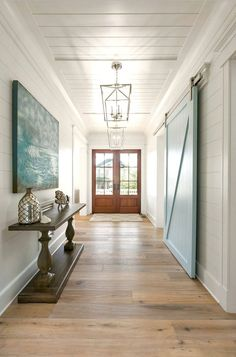 Entry with shiplap and barn door.  #entryway homechannletv.com