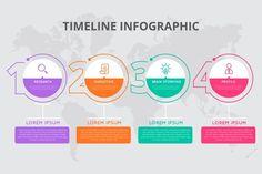 Modern business infographic concept with 4 steps banner design Timeline Infographic, Free Infographic, Infographic Templates, Infographics Design, Health Infographics, Design Plat, Flat Design, Design Design, Design Elements