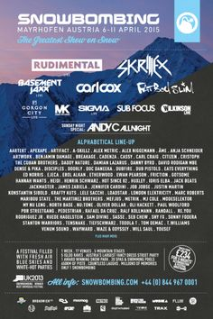 SNOWBOMBING FESTIVAL 2015 ...FEATURING: FAT BOY SLIM, CARL COX, SKRILLEX The Greatest Show On Snow