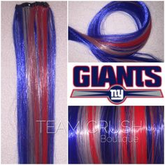 A personal favorite from my Etsy shop https://www.etsy.com/listing/454870808/ny-giants-18-clip-in-colored-hair
