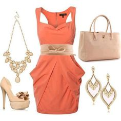 combination of clothes fashion accessorize clothes orange dress beige accessories