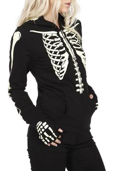 Skeleton Hoodie. Zip it up and it has a skeleton mask as a hood, fingerless gloves, and, the best part, it glows in the dark!