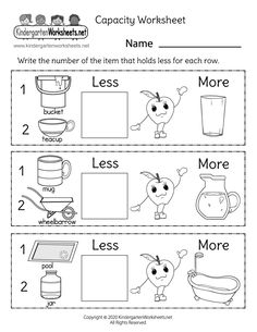 Students have to determine which objects hold the least amount of liquid in each row and then write the correct number in the box. This free printable capacity worksheet can help kids gain a better understanding of how much liquid different containers can hold.