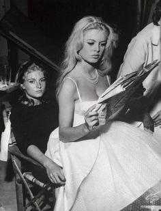 Brigitte Bardot with her sister Mijanou, 1959..