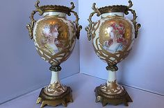 Rare & Large Pair of Art Nouveau Sevres Vases in Mucha Style With Ormolu Mounts