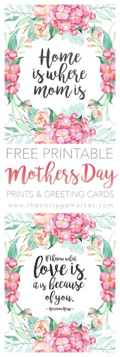 Free Printable Mother's Day Prints and Greeting Cards
