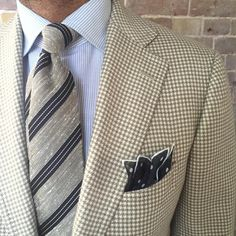 """violamilano: """" Perfect combination by @suitwhisper ➡️ Viola Milano """"Mixed Stripe untipped woven silk/Linen - Beige/Navy"""" tie & handrolled """"Classic polka Dot wool/silk - Navy"""" pocket square… Explore..."""