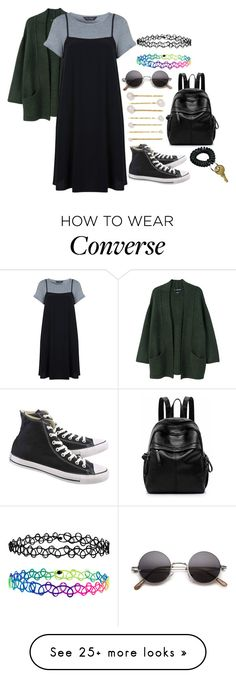 """Untitled #3098"" by kitten89 on Polyvore featuring MANGO, Miss Selfridge, Converse, Jennifer Behr and Accessorize"