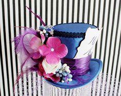 Blue Mini Top Hat Bridal Hat Mini Hats Tea by LittleMissHattitude