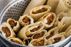 Tender shredded pork in a spicy red mole enveloped in light fluffy masa, these tamales take some TLC to make, but they're delicious.