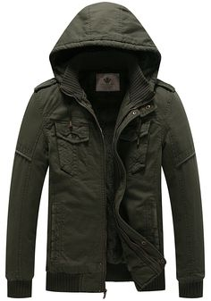 10dc2b7f20dce Buy Men's Winter Fleece Jacket With Hood Thick Coat - Olive - CQ12N74LUBK,  Shop the latest collection of Men's Outerwear Jackets & Coats from the most  ...