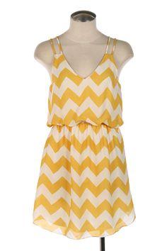 203cb3f4f7434 sincerely sweet Dress - Summer Recreation Double Strap Chevron Print Dress  in Sunshine Yellow