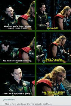 This whole sequence (from when Loki and Thor join up to when they get to Malekith) has to be one of my favourites in the Marvel universe. It's so fun, and Loki and Thor interacting with each other is just like real brothers. Avengers Humor, Marvel Avengers, Marvel Jokes, Hero Marvel, Funny Marvel Memes, Dc Memes, Marvel Dc Comics, Loki Funny, Loki Meme