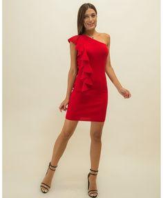 Φόρεμα με φραμπαλά στο πλάι