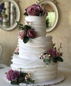 Mouth-watering Floral Wedding Cakes for Spring and SummerSpeaking of wedding cake trends, there are plenty out there, from multi-layered wedding cakes, to geometric wedding cakes,… Summer Wedding Cakes, Black Wedding Cakes, Floral Wedding Cakes, Elegant Wedding Cakes, Elegant Cakes, Beautiful Wedding Cakes, Wedding Cake Designs, Perfect Wedding, Rustic Wedding