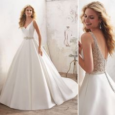 Morilee 8272 Luella Satin Ball Gown Wedding Dress – Off White Wedding Dress Websites, Wedding Dress Trends, Dream Wedding Dresses, Wedding Ideas, Wedding Dresses With Straps, Wedding Dress Sleeves, Bridal Dresses, Dresses Dresses, Satin Wedding Dresses