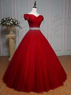 Sparkly Prom Dress, off the shoulder crystal beaded sashes red tulle ball gowns prom dress,red wedding dress,elegant evening gowns These 2020 prom dresses include everything from sophisticated long prom gowns to short party dresses for prom. Red Quinceanera Dresses, Red Wedding Dresses, Elegant Wedding Dress, Cheap Prom Dresses, Trendy Dresses, Elegant Dresses, Tulle Wedding, Bridesmaid Dresses, Tulle Ball Gown