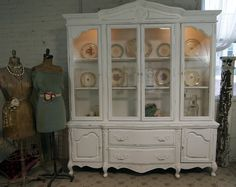 Vintage Shabby Chic White Painted French Provincial China Cabinet
