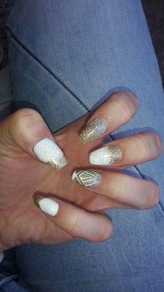 Gold and White nails , summer nails