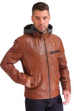Мужская кожаная куртка из натуральной кожи утепленная с капюшоном   Каталог товаров по сниженной цене.