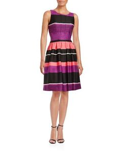 Ivanka Trump Striped Fit-and-Flare Dress Women's Black/Dahlia 10