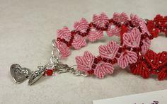 Happy Valentine Hearts MicroMacrame Pink Bracelet by PicotsnPosies