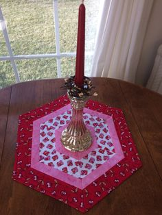 Valentine's Day Red White & Pink Quilted Hexagon Table by seaquilt